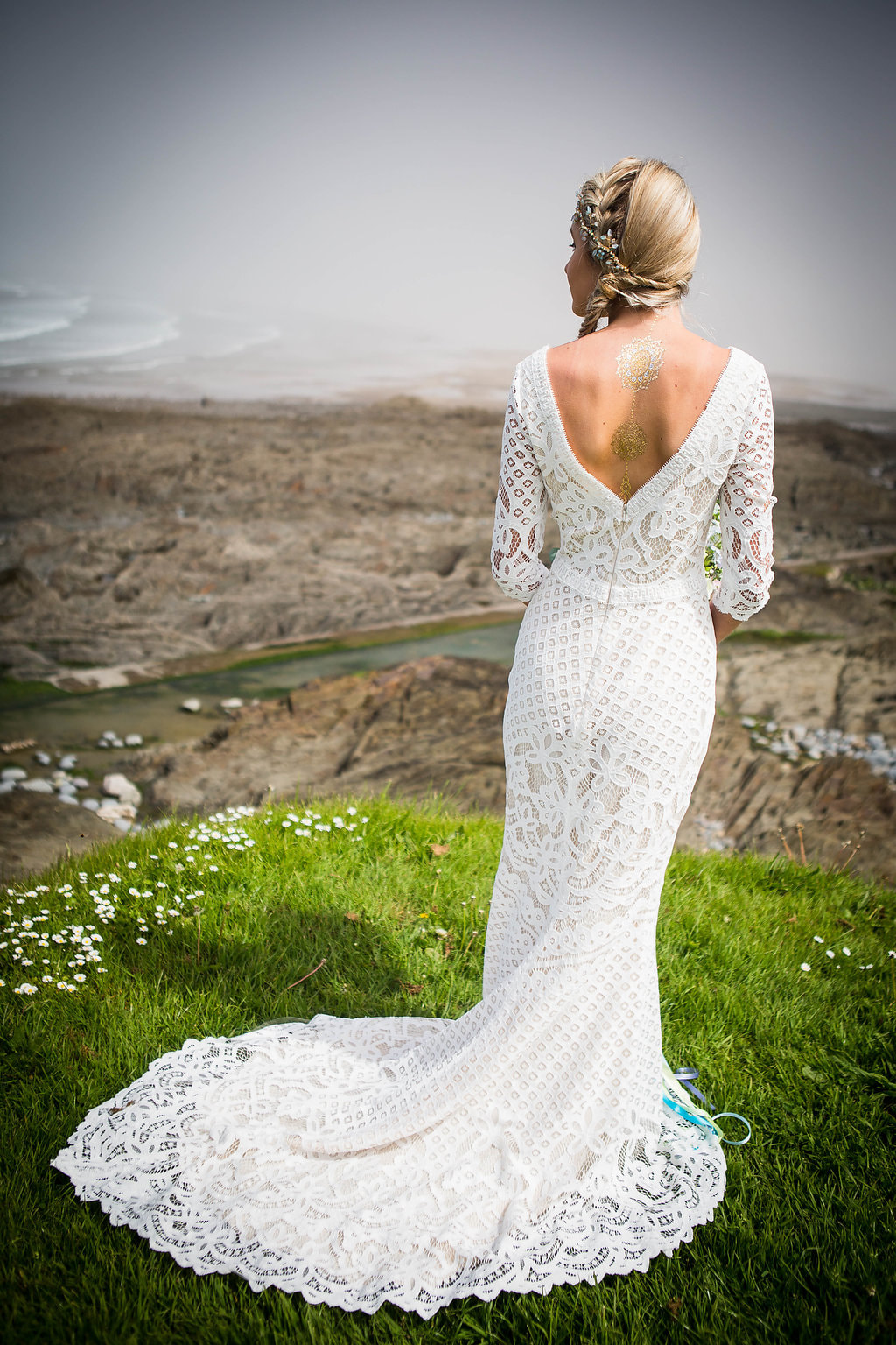 Back view of Boho mist hair vine in a detailed lace dress by Always and Forever
