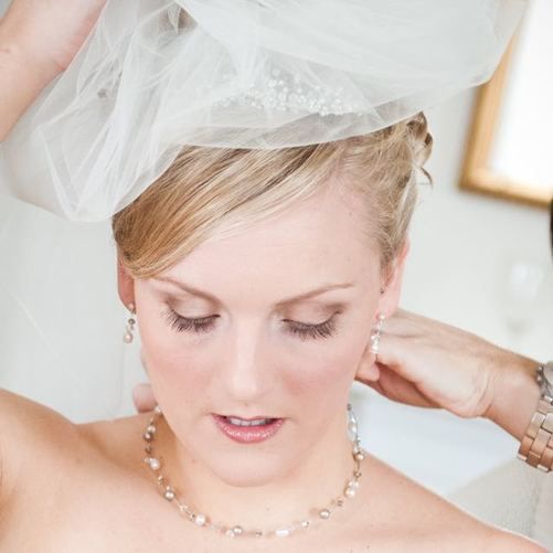 bride with bespoke Adore Necklace, earrings and handmade bridal headpiece