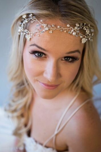 Bride wearing Bluebell Vine in blond hair