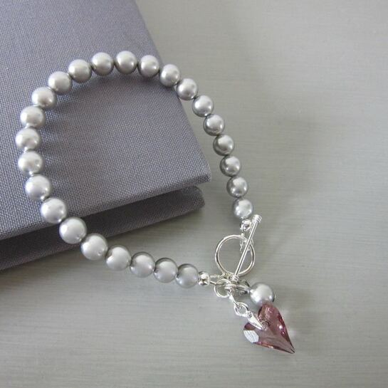 Silver Pearl Love Bracelet with Dusky Pink Crystal Heart perfect for brides or bridesmaids gifts