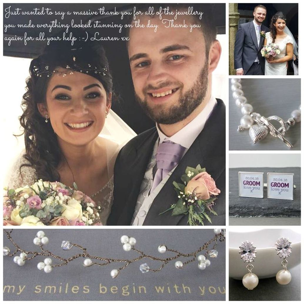 Lauren chose this bracelet and the mauve version for her bridesmaids, together with Glam earrings and the Crystal & Bride and groom with Pearl Hair vine, personalised cufflinks