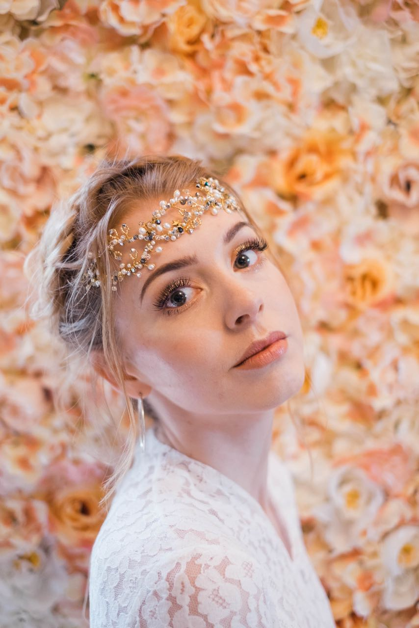Starry night headpiece is ideal for Boho Luxe weddings worn across the forehead